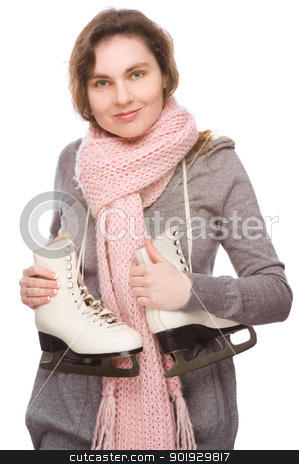 Ice skate stock photo, Full isolated studio picture from a young woman with ice skate by Picturehunter
