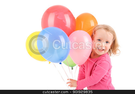 Girl with balloons stock photo, Full isolated studio picture from a little girl with balloons by Picturehunter