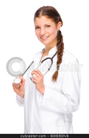 Young doctor stock photo, Full isolated portrait of a beautiful caucasian doctor by Picturehunter