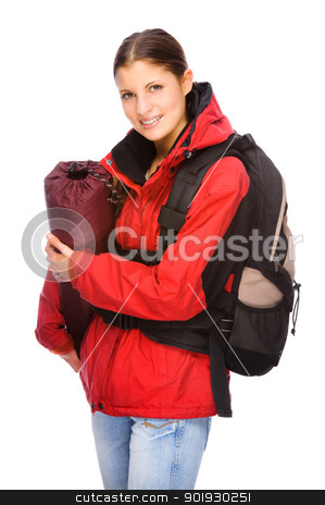 Backpacker stock photo, Full isolated studio picture from a young and happy backpacker by Picturehunter