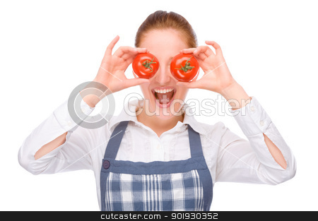 In the kitchen stock photo, Full isolated studio picture from a young housewife in the kitchen by Picturehunter