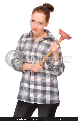 Pipe clogging stock photo, Full isolated studio picture from a young woman with plunger by Picturehunter