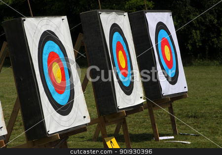 Target stock photo, Used archery target set on position on archery range by vaximilian