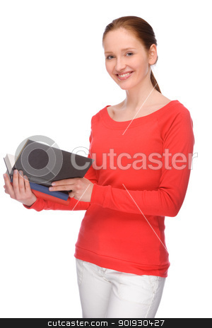 Young woman with books stock photo, Full isolated portrait of a beautiful and happy young student by Picturehunter