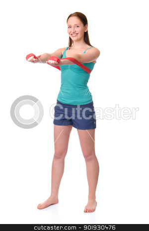 Gymnastics stock photo, Full isolated studio picture from a young woman doing gymnastics by Picturehunter