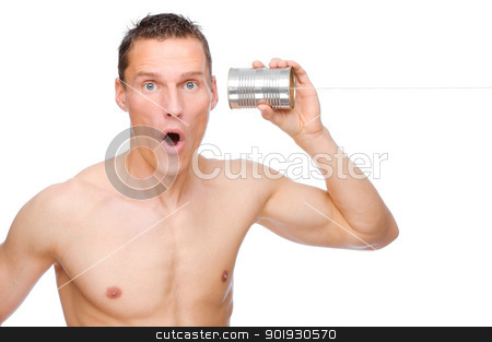 Tin phone stock photo, Full isolated studio picture from a young and happy man with tin phone by Picturehunter