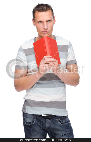 Man with book stock photo, Full isolated studio picture from a young man with book by Picturehunter