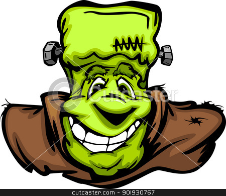 Happy Frankenstein Halloween Monster Head Cartoon Vector Illustr stock vector clipart, Cartoon Vector Image of a Happy Halloween Monster Frankenstein Head with Smiling Expression by chromaco