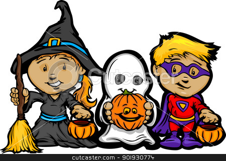 Cute Halloween Kids In Trick or Treat Costumes Cartoon Vector Il stock vector clipart, Cartoon Vector Image of a Happy Halloween Children Girl With Trick or Treat Jack-O-Lanterns by chromaco