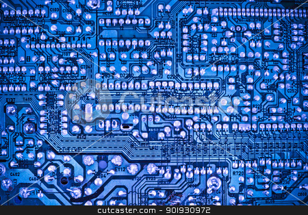 Blue circuit board stock photo, closeup of the blue electronic circuit board by georgenightingale
