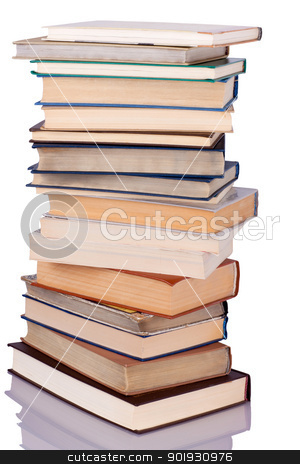Stack of books stock photo, Composition of books stack isolated on white background by georgenightingale