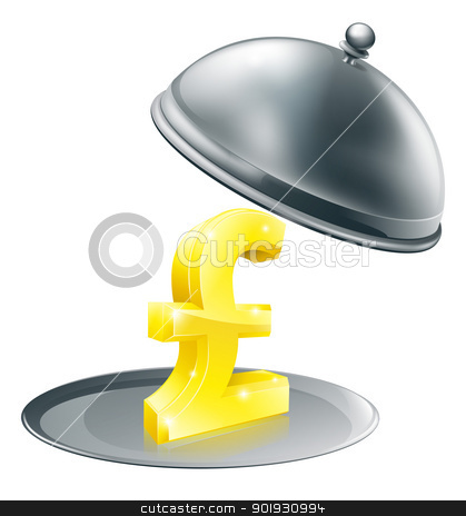 Pound on silver platter concept stock vector clipart, A Pound sign on silver platter. Conceptual illustration for money making opportunity or perhaps to do with expensive dinning by Christos Georghiou