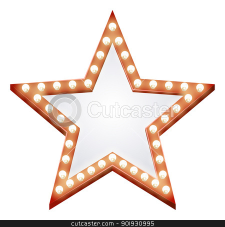 Star sign stock vector clipart, Illustration of a star shaped illuminated sign with light bulbs round it by Christos Georghiou