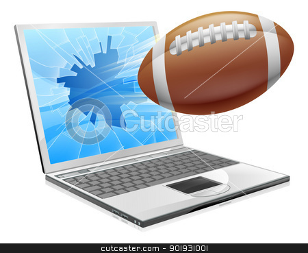 Football laptop concept stock vector clipart, Illustration of a football ball flying out of a broken laptop computer screen by Christos Georghiou