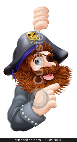 Pirate pointing stock vector clipart, A cartoon graphic of a pirate with skull and cross bones hat pointing out a message by Christos Georghiou