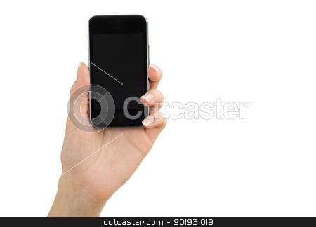mobile  stock photo, Hand holding mobile isolated on white by Vitaliy Pakhnyushchyy