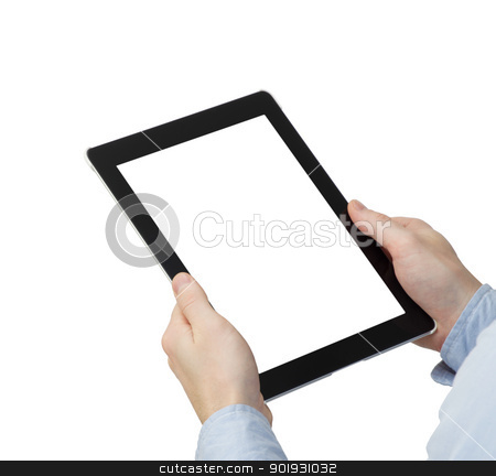tablet computer  stock photo, tablet computer in a hands  by Vitaliy Pakhnyushchyy