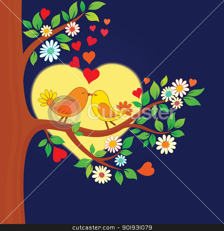 Two kissing birds on the tree stock vector clipart, Decorative color vector illustration of two kissing birds in the moonlight by Allaya