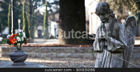 Cemetery Statue stock photo, Italian monumental cemetery: collection of two hundreds years old statues by Perseomedusa