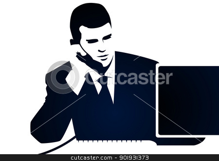 Businessman and phone call stock vector clipart, Businessman and phone call by Seyyah