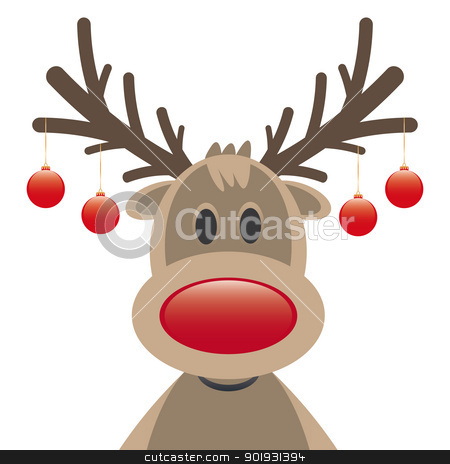 rudolph reindeer red nose christmas balls stock vector clipart, rudolph reindeer red nose and christmas balls by d3images
