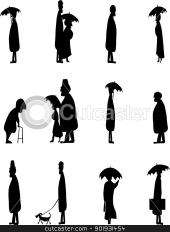 Old Folk stock vector clipart, A set of senior citizens in silhouette. by Kotto
