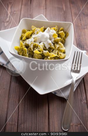 Sacchettini di pasta all'uovo con spinaci e ricotta stock photo, pasta to the egg with spinach and ricotta cheese by Giordano Aita