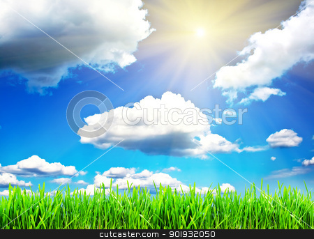 Spring stock photo, Green grass under blue sky with clouds and spring sun by Alexey Popov