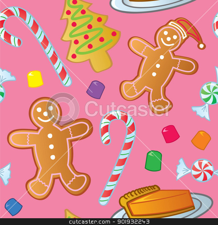 Seamless Holiday Sweets stock vector clipart, A seamless pattern of holiday cookies, candy and other sweet confections. by Jamie Slavy