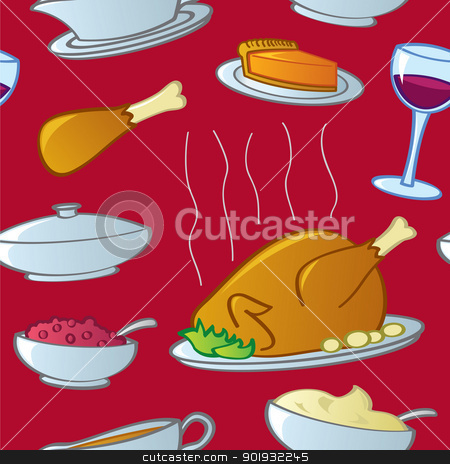 Seamless Thanksgiving Food stock vector clipart, A seamless pattern of traditional American Thanksgiving and Christmas Holiday Season food. by Jamie Slavy