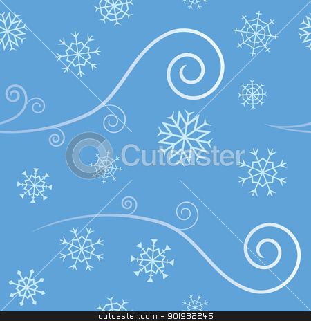 Seamless Wind and Snow stock vector clipart, An elegant abstract seamless pattern depicting cold Winter Wind and blowing snow flakes. by Jamie Slavy
