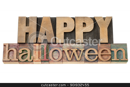 Happy Halloween stock photo, Happy Halloween - isolated text in vintage letterpress wood type by Marek Uliasz