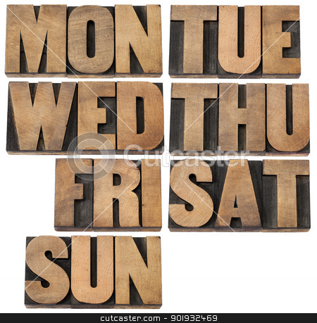 days of week in wood type stock photo, 7 days of week (first 3 letter symbols) in isolated vintagewood letterpress printing blocks by Marek Uliasz