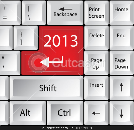 Computer Keyboard with 2013 Key stock vector clipart, Computer Keyboard with 2013 Key by Erdem