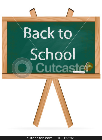 Back to school text over chalkboard background. Green board stock vector clipart, Back to school text over chalkboard background. Green board by Erdem