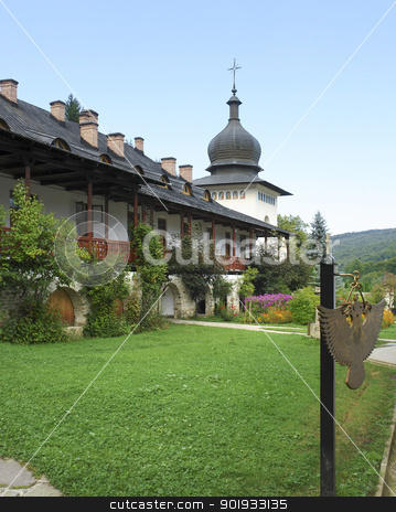 Sihastria Monastery stock photo, the Sihastra Monastery near Targu Neamt in Romania by prill