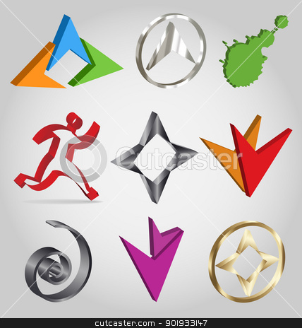 Collection of colorful vector 3D logos stock vector clipart, Business-related collection of colorful 3D logos easily to be customized by Vladimir Repka