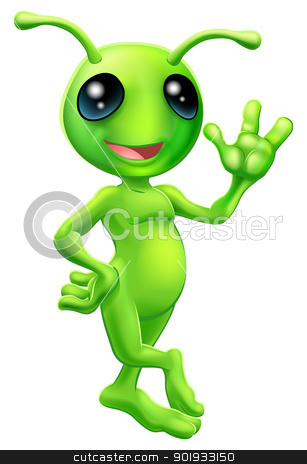 Little green man alien stock vector clipart, Illustration of a cute cartoon little green man alien mascot with antennae smiling and waving by Christos Georghiou