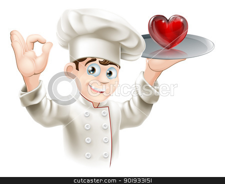 Love food stock vector clipart, Illustration of a chef holding a heart on a tray, concept for loving food or cooking or putting your heart into cooking by Christos Georghiou