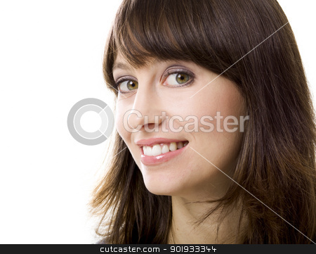 Smiling stock photo, Portrait of a beautiful young woman looking at the camera and smiling, isolated on a white background by ikostudio