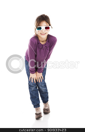 Girl with 3D glasses stock photo, Beautiful little girl wearing 3d glasses and smiling, isolated over a white background by ikostudio