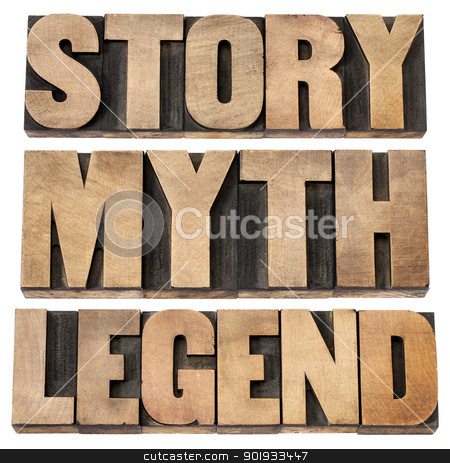 story, myth, legend stock photo, story, myth, legend - storytelling concept -  isolated words in vintage letterpress wood type by Marek Uliasz