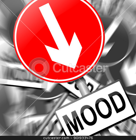 Feeling down. stock photo, Illustration depicting a roadsign with a mood concept. Monochrome blurred background. by Samantha Craddock