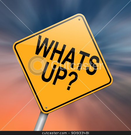 Whats up. stock photo, Illustration depicting a roadsign with a 'whats up' concept. Abstract background. by Samantha Craddock