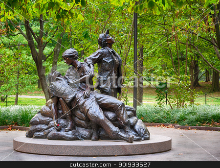 Women's Vietnam memorial in Washington stock photo, WASHINGTON DC - SEPTEMBER 16: Vietnam Women's Memorial in Washington DC on September 16, 2012. The statue was designed by Glenna Goodacre and dedicated on November 11, 1993. by Steven Heap