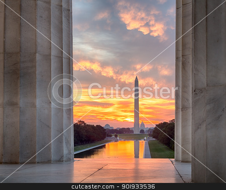 Brilliant sunrise over reflecting pool DC stock photo, Bright red and orange sunrise at dawn reflects Washington Monument in new reflecting pool by Lincoln Memorial by Steven Heap