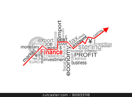 finance words stock photo, Word cloud concept illustration of money finance with arrow by Tudor Antonel adrian