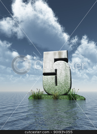 number five stock photo, stone number five at the ocean - 3d illustration by J?