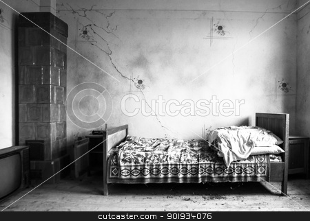 Abandoned bedroom stock photo, Bed, TV and stove in adandoned room by Paul Prescott