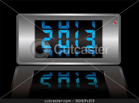 Calendar 2013 stock vector clipart, 2013 modern digital calendar in neon blue by Michael Travers